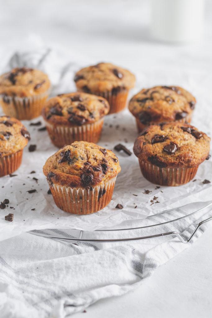 teljes kiőrlésű banánkenyér muffin