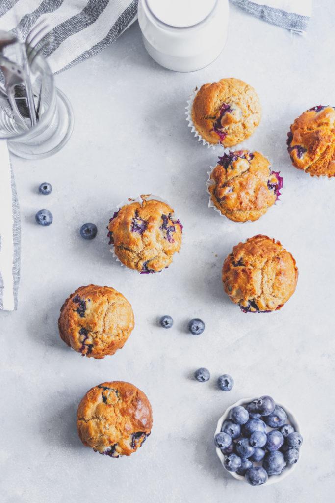 teljes kiőrlésű cukormentes áfonyás muffin