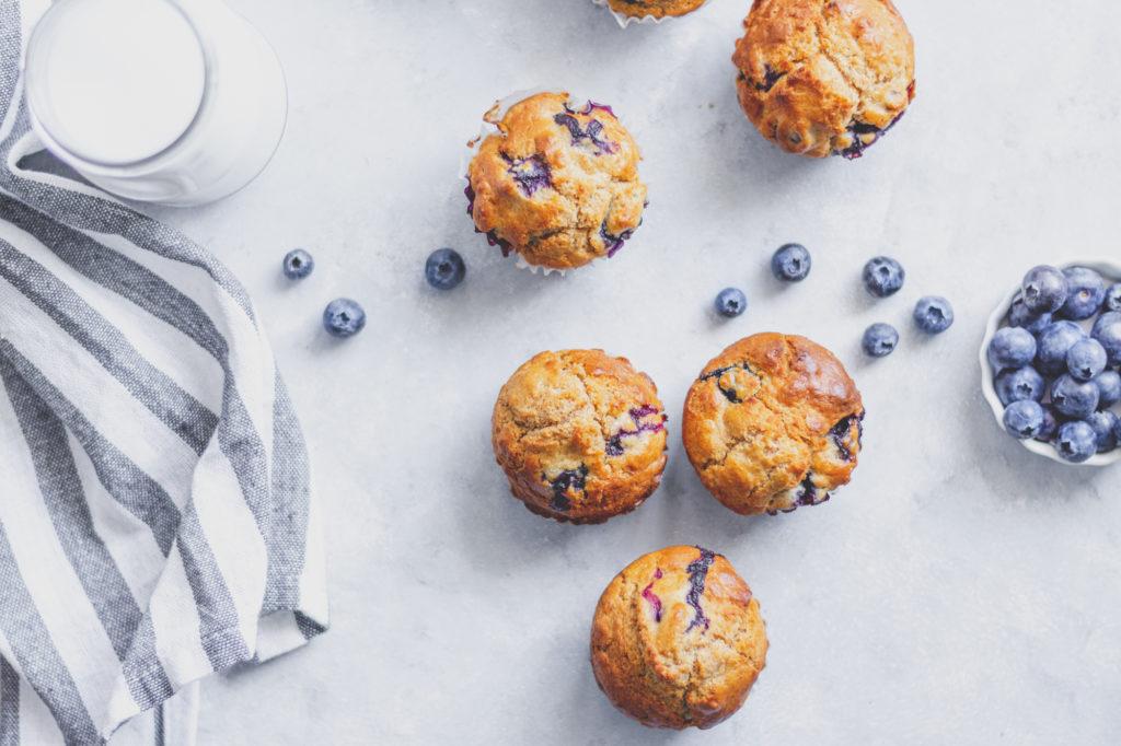 klasszikus áfonyás muffin teljes kiőrlésű lisztből
